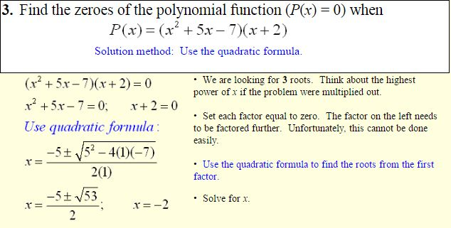 Polynomials of Higher Degree-5