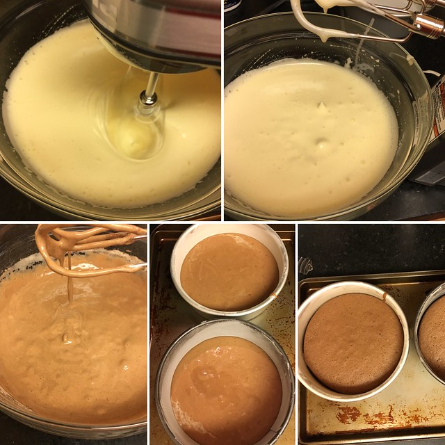 Some of the steps in baking a sponge cake
