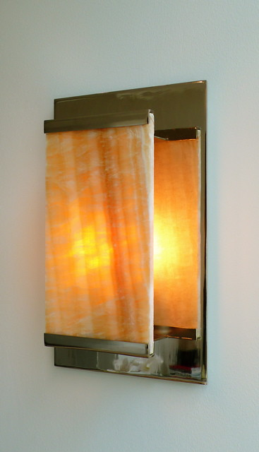 Custom Made Wall Sconce Of Honey Onyx Amp Nickle Plated Stee Flickr
