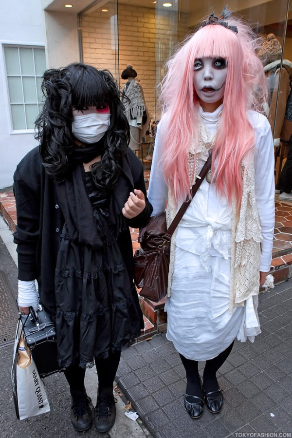 Harajuku Gothic Girls Two Japanese girls dressed in