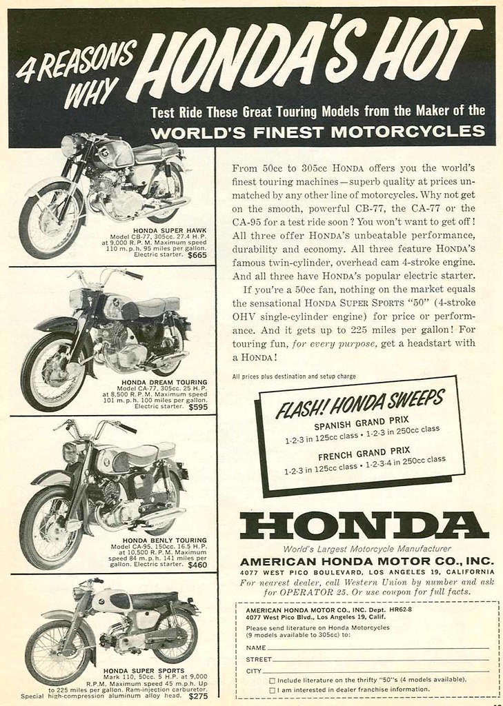 1962 Honda Motorcycle Advertisement