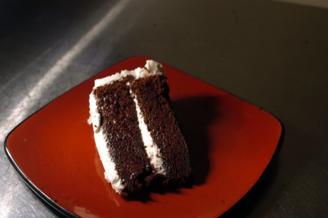 Devil S Food Cake With Vanilla Icing Nice And Rich Great