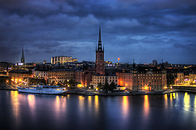 Riddarholmen This Is A Night Shot Over Stockholm From