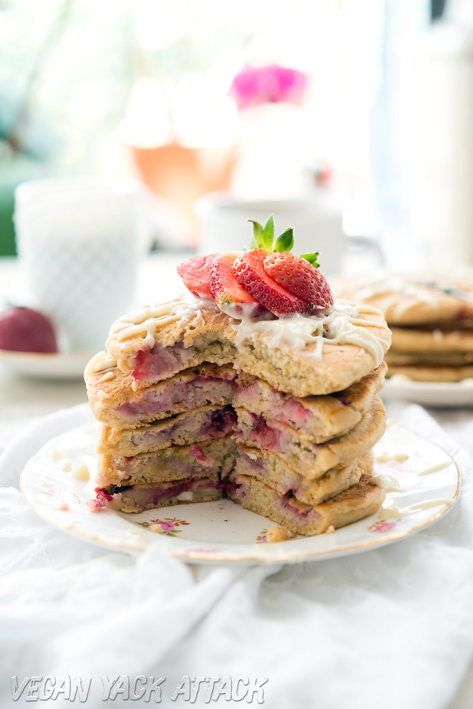 Fluffy #Vegan Strawberry White Chocolate Pancakes- Easy, Kid-friendly and SO tasty! #lovemysilk
