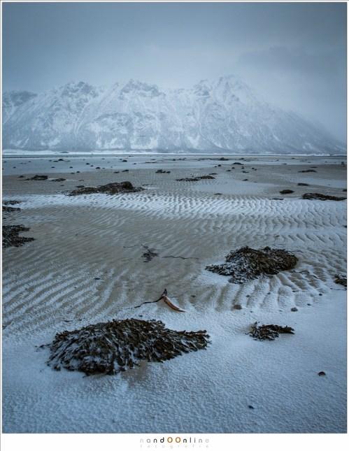 Sommige fjorden vallen deels droog bij laag water. De patronen die door het water zijn achtergelagen leveren een mooi beeld op als een sneeuwstorm haar sneeuw daar achterlaat. In de lage bewolking doemen de bergen als reuzen op, dreigend, hoog en indrukwekkend