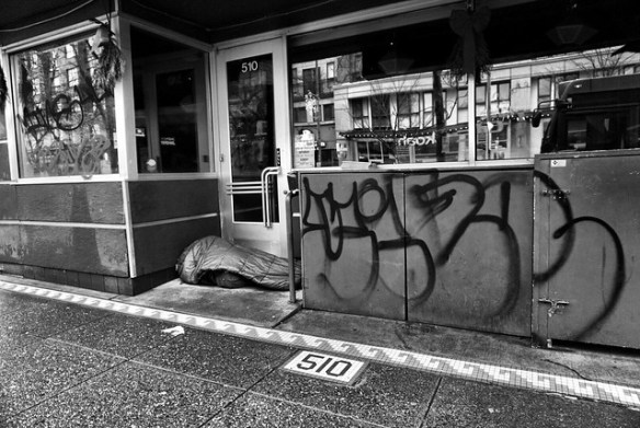 Sleeping between graffiti