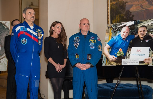 Amiko Kauderer accompanies her boyfriend, astronaut Scott Kelly and Russian cosmonaut Mikhail Kornienko to a Reception in Moscow celebrating the space program.