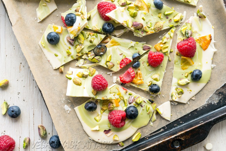 Spring White Chocolate Matcha Bark - vegan, delicious, and easy!
