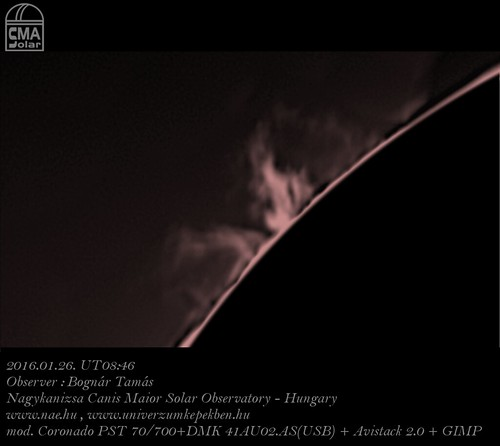 H-alpha light Sun – 2016.01.26. UT 08:46 – Bognár Tamás