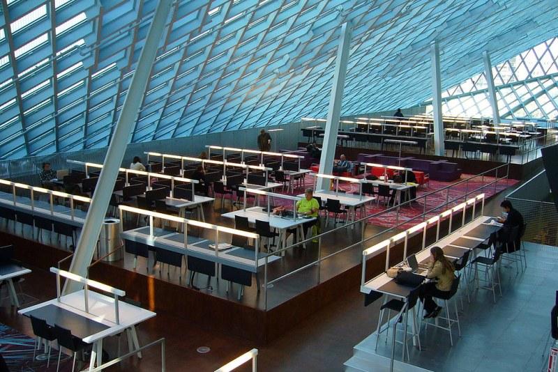 Seattle Public Library, Main Branch, Reading Room. Seattle, Washington, USA. Image credit Eric Hunt.