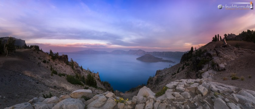 Crater Lake with evening sky