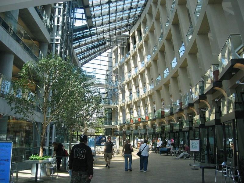 Main hallway of the Salt Lake City Public Library, Utah. Image Bobjgalindo.