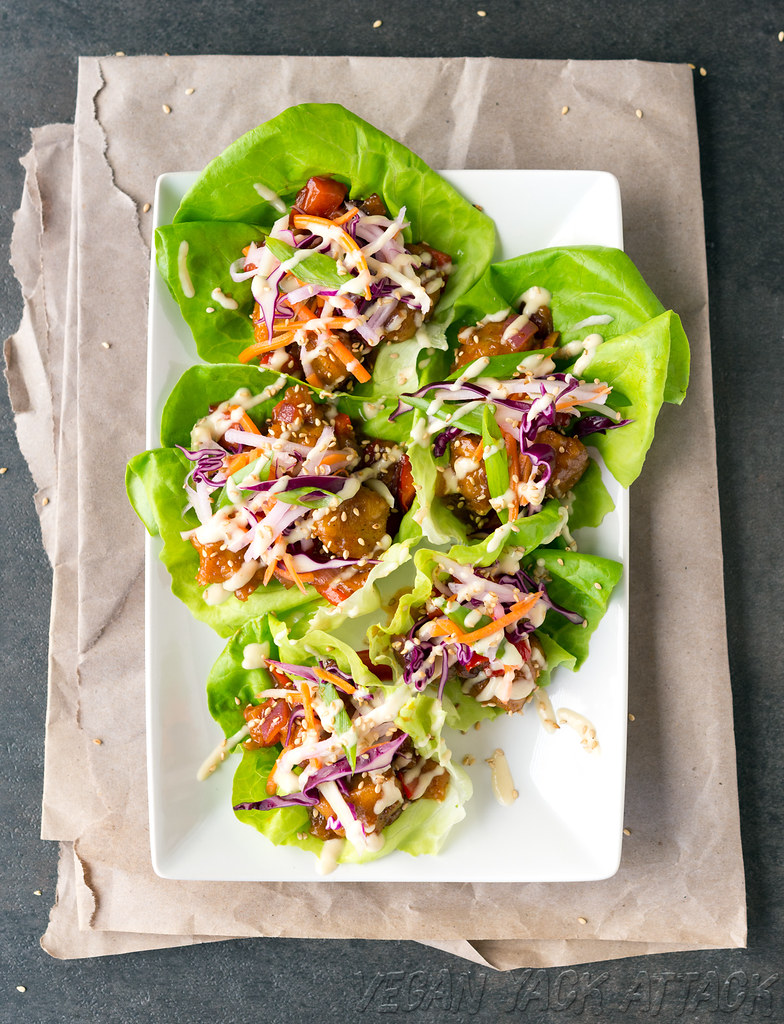 Sweet & Sour Porkless Lettuce Cups make for a quick and delicious appetizer! #vegan