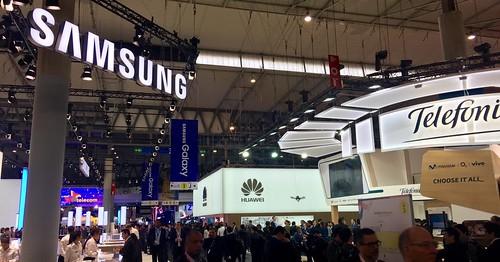 Stand de Samsung en el pabellón 3, Fira Barcelona, Cataluña, España.