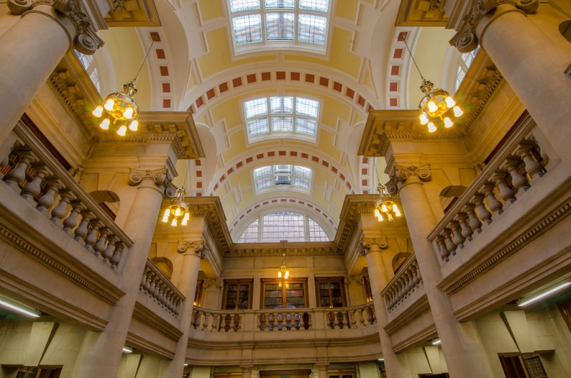Interior of Hornby Library part of Liverpool Central library, England. Image credit Liverpool Libraries.