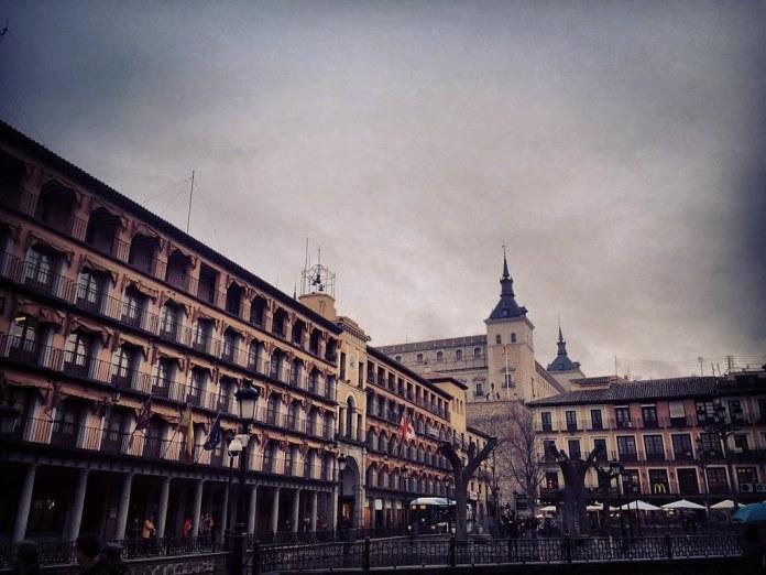 Plaza de Zocodover en un día de lluvia. Toledo