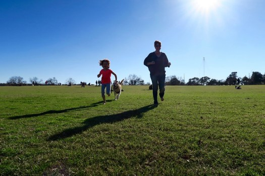 Anais and Maile, running w Townes at Zilker park