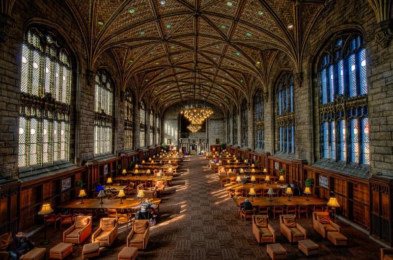 Interior of Harper Memorial Library at University of Chicago. Image credit Rick Seidel.