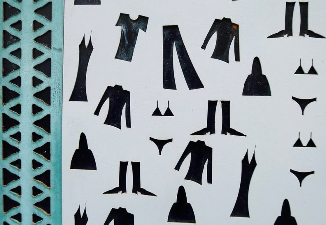 turquoise pattern with clothing cutouts