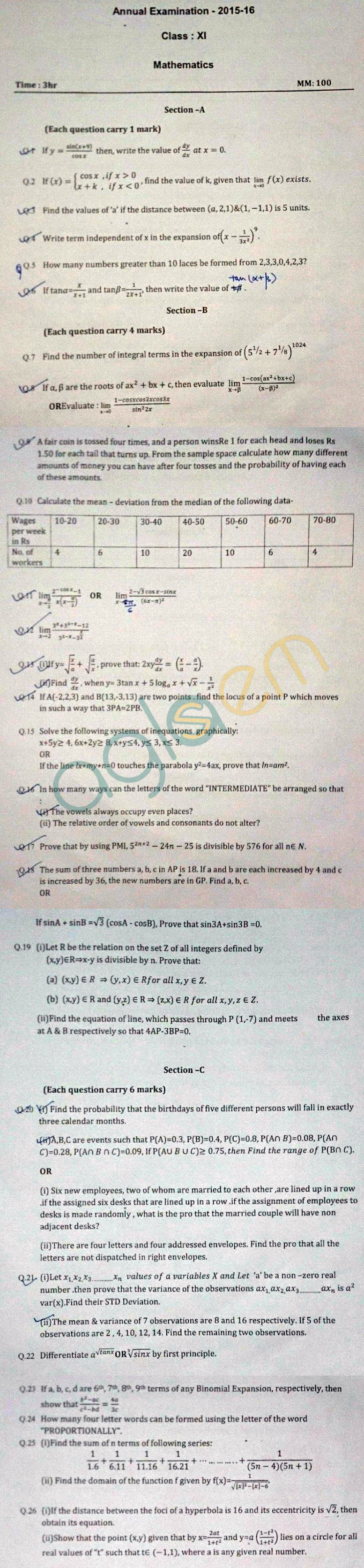 CBSE Class 11 Annual Exam Question Papers – Mathematics