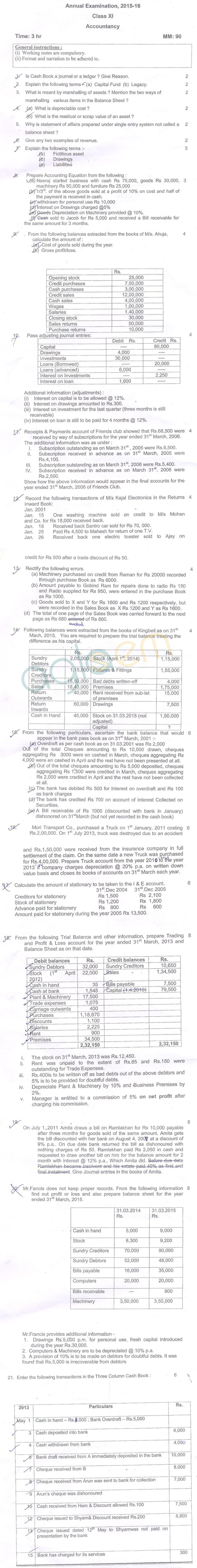 CBSE Class 11 Annual Exam Question Papers – Accountancy