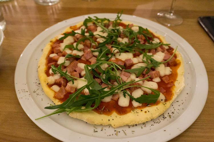 Gluten free ham and goat cheese pizza from My Free Kitchen in Paris, France