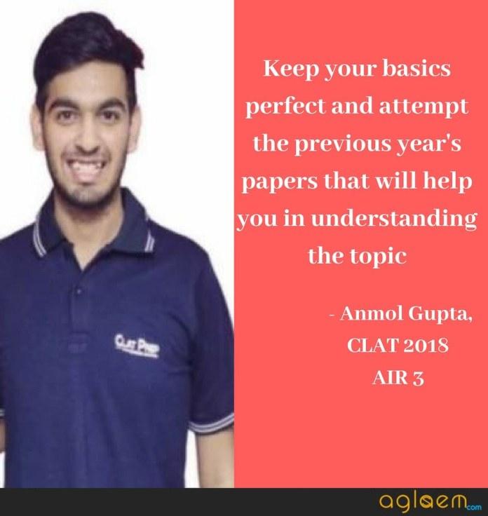CLAT 2018 Topper Interview: Anmol Gupta (AIR 3) Interview, Marks, Success Mantra  %Post Title | AglaSem