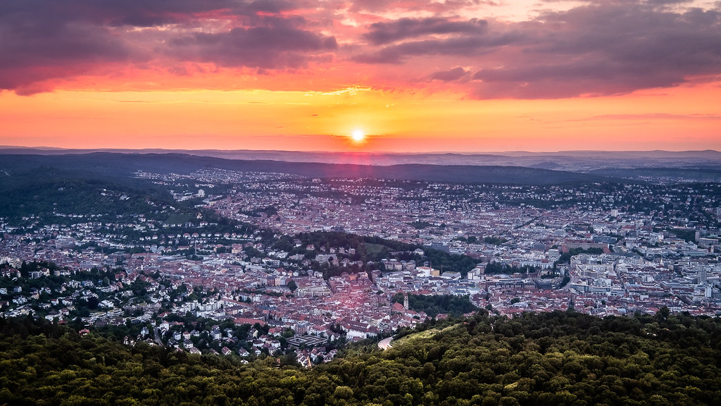 Sunset On Stuttgart Germany Cityscape Photography Flickr