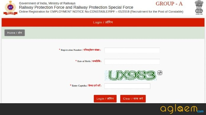RPF Login 2018 For SI and Constable Recruitment