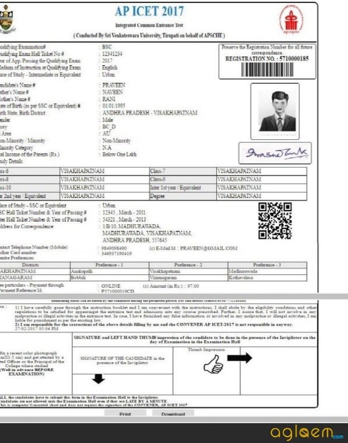 AP ICET Hall Ticket 2019 Sample