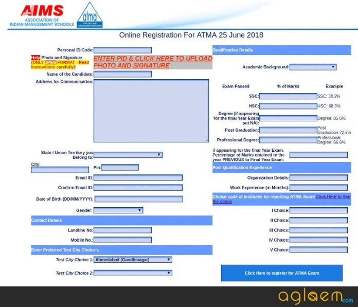 ATMA 2018 registration for june exam