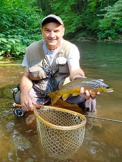 Photo of Man holding brown trout in stream