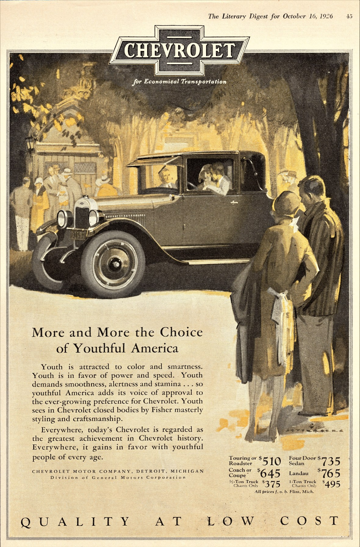 1926 Chevrolet Coupe - published in The Literary Digest - October 16, 1926