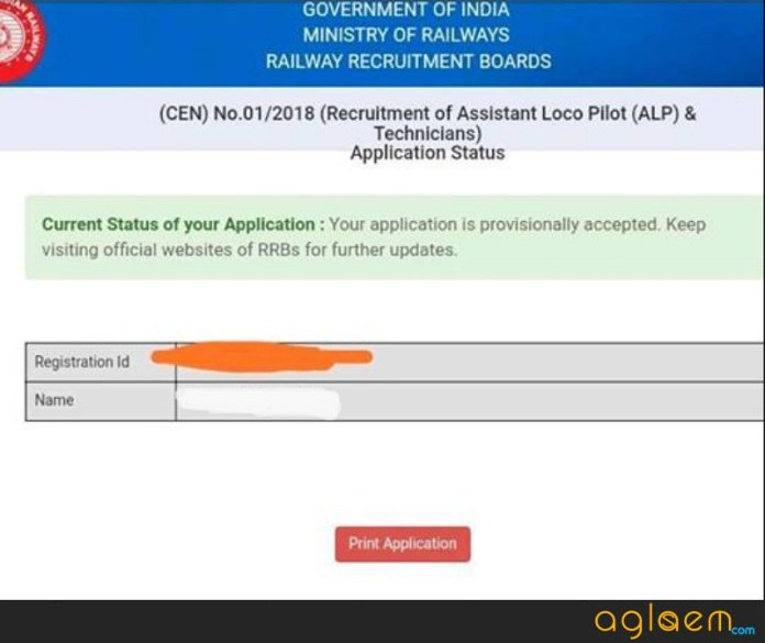RRB ALP 2018 Application Status