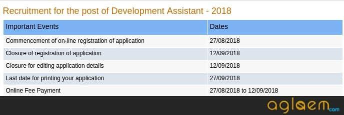 NABARD Development Assistant 2018 Notification Important Dates