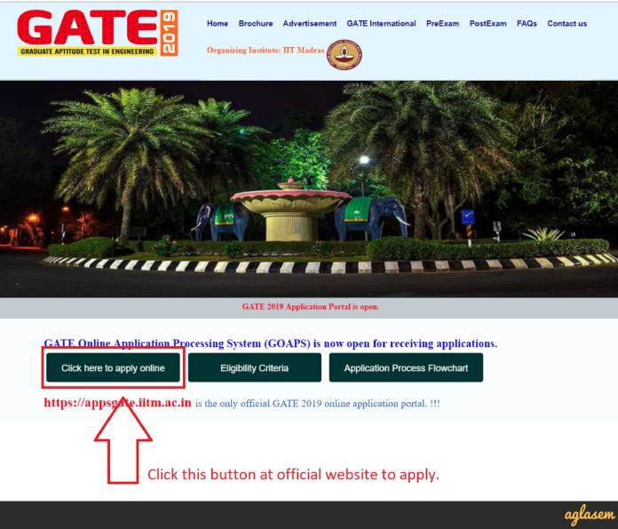 GATE 2019 Application Form