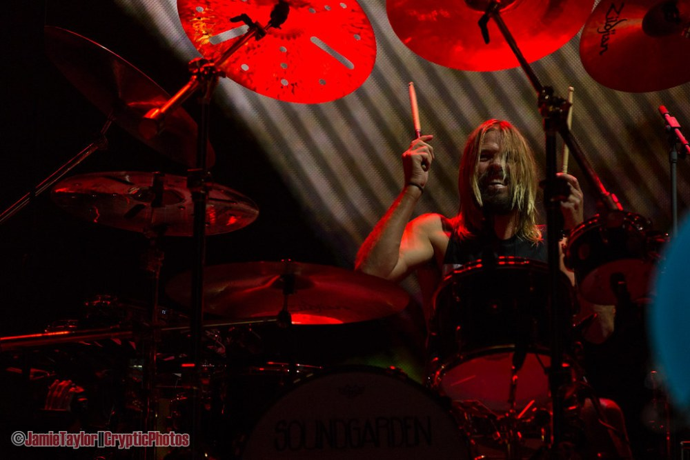 Drummer Taylor Hawkins of Foo Fighters performing at Rogers Arena in Vancouver, BC on September 8th, 2018
