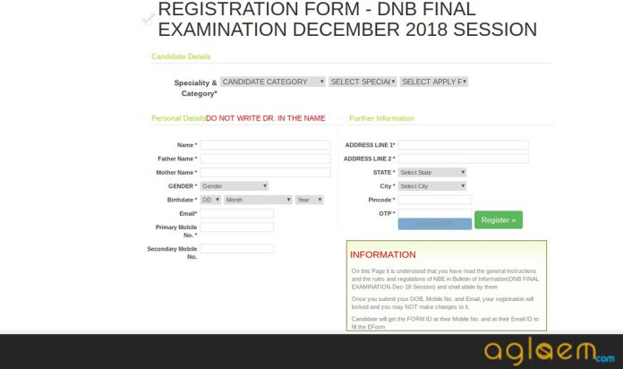 DNB Final Examination December 2018 Application form   Apply Here
