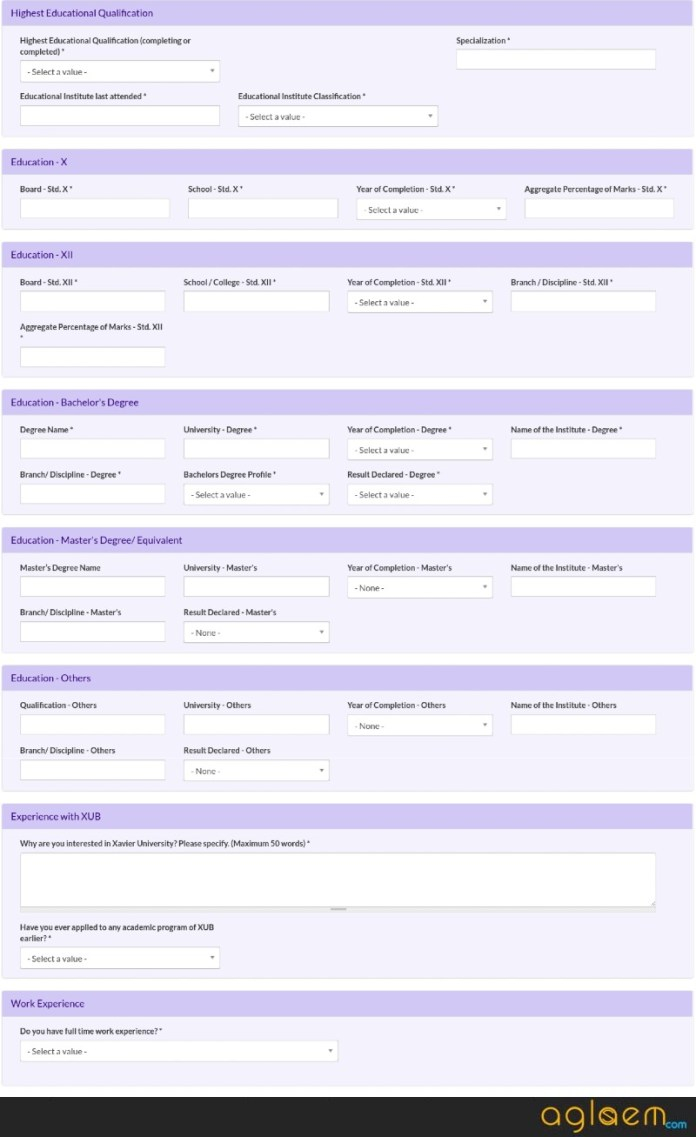 Educational Details in XGMT 2019 Application form