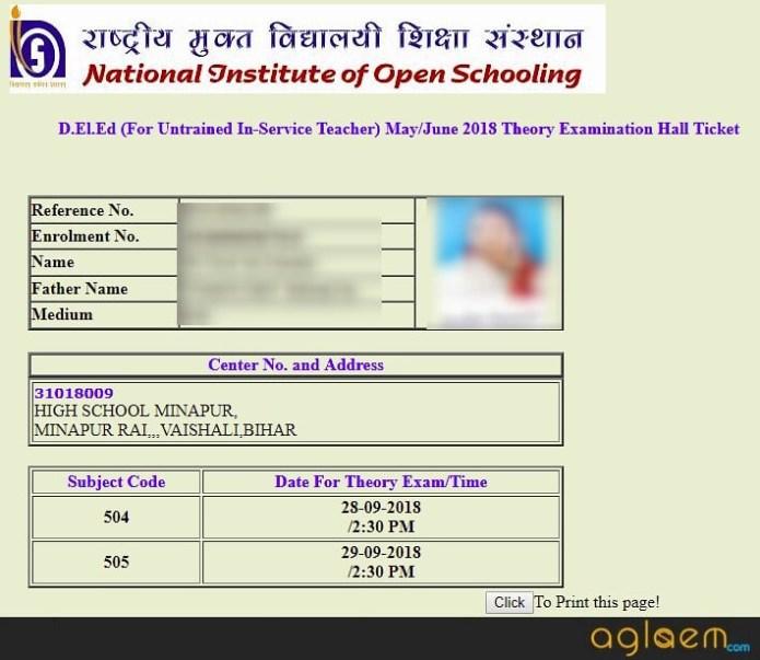 NIOS DElEd 2nd Exam 2018 Admit Card