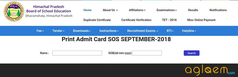 HPSOS 10th Admit Card September 2018