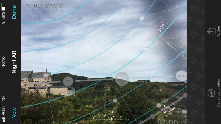 Een screenshot van de Augmented Reality van Photopills... dit was de plek die we uitgekozen hebben voor het maximum van de Perseïden)