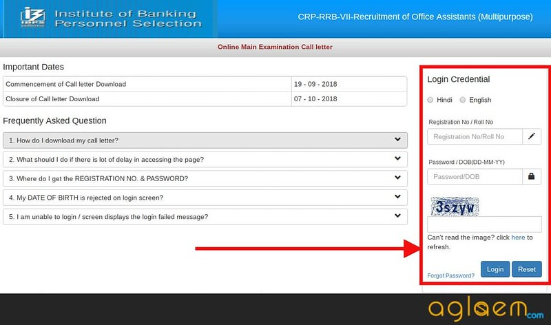 Admit Card downloading window for Office Assistant (multipurpose)