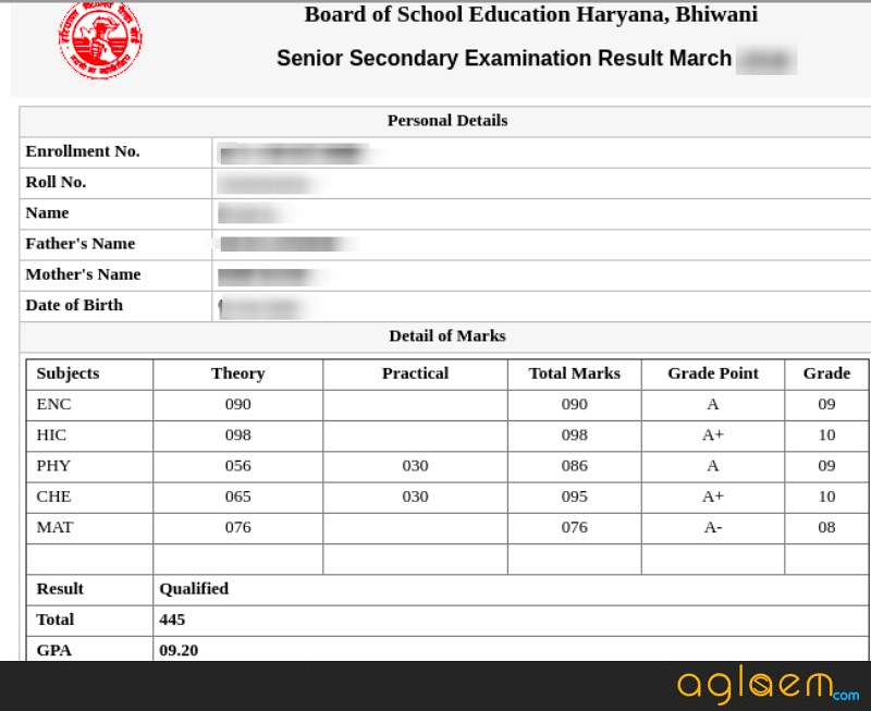 HBSE 12th Result 2019
