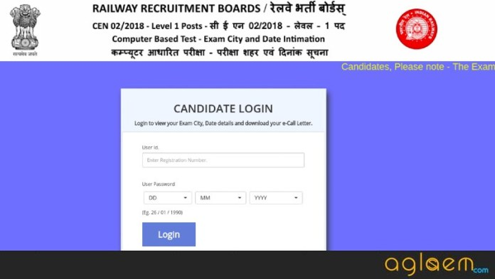 RRB Group D Chennai Admit Card 2018