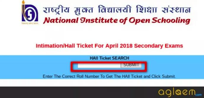 NIOS 10th Hall Ticket October 2018