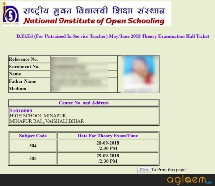 NIOS DElEd 2nd exam Admit Card 2018