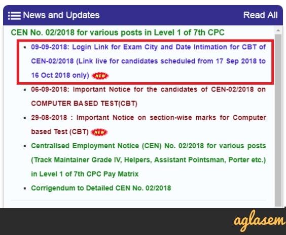 RRB Mumbai Group D Exam Date 2018
