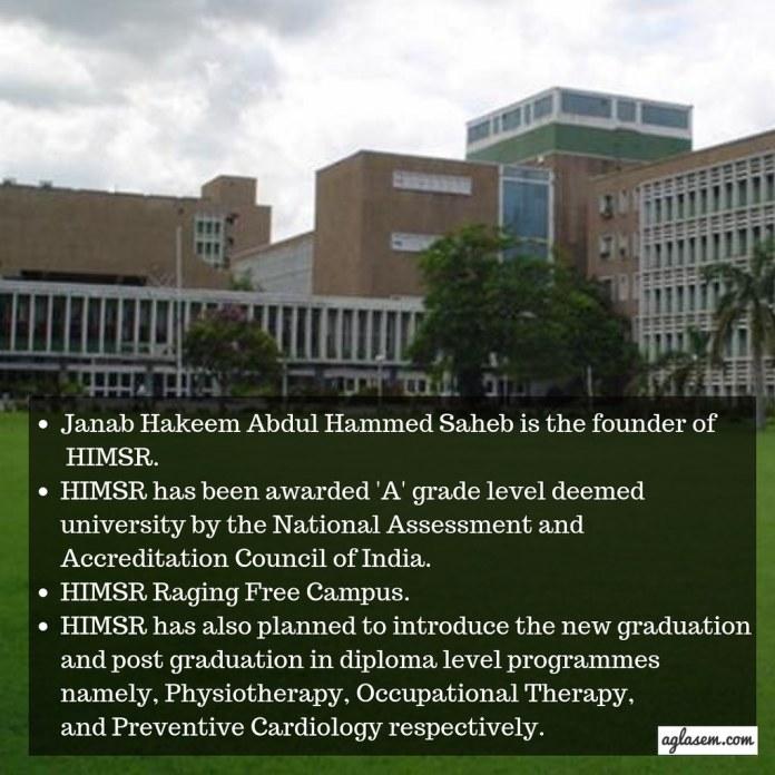 Hamdard Institute of Medical Sciences & Research [HIMSR], New Delhi
