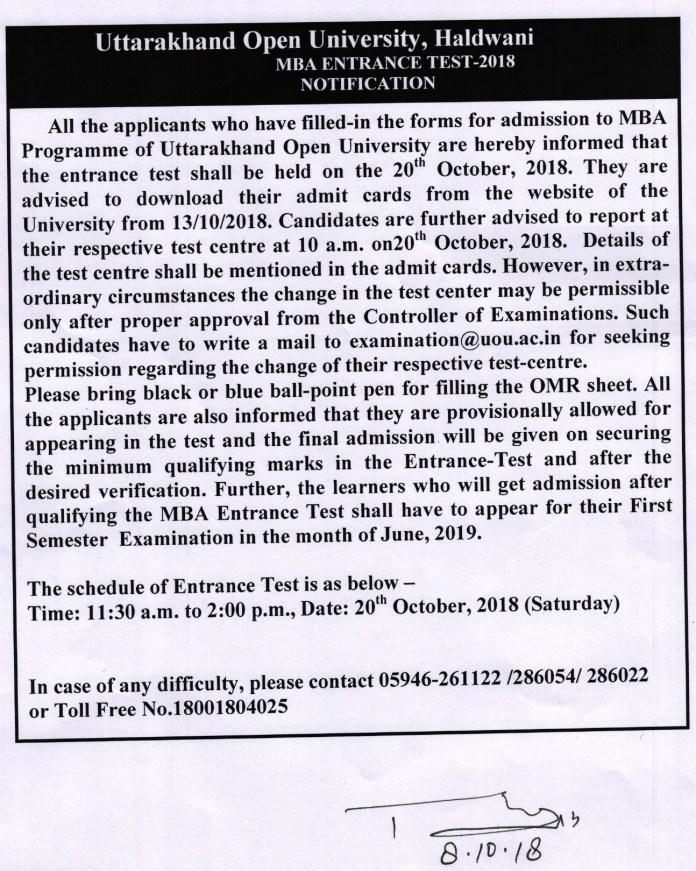 UOU MBA 2018